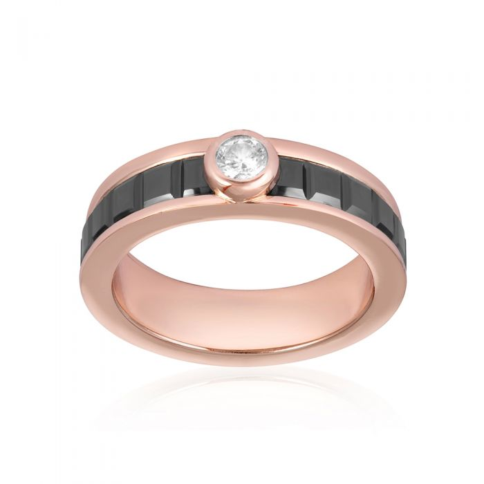 Image for Rose Gold Plated, Black Ceramic and White Cubic Zirconia Ring