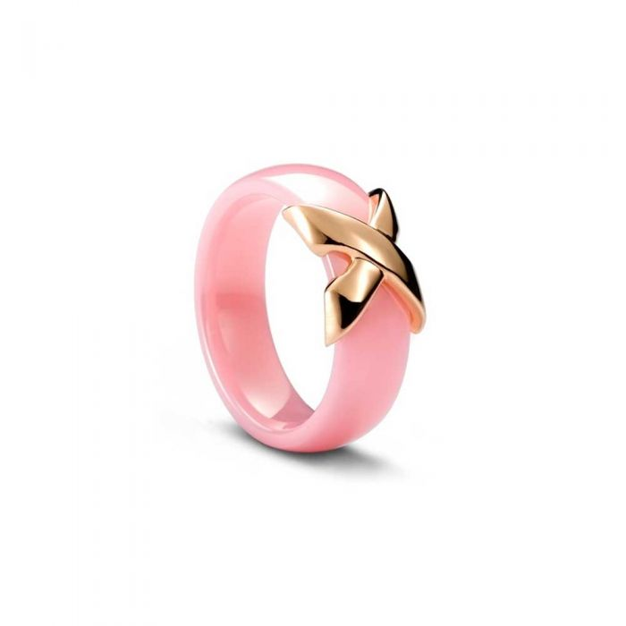 Image for Yellow Gold Plated, Pink Ceramic Ring