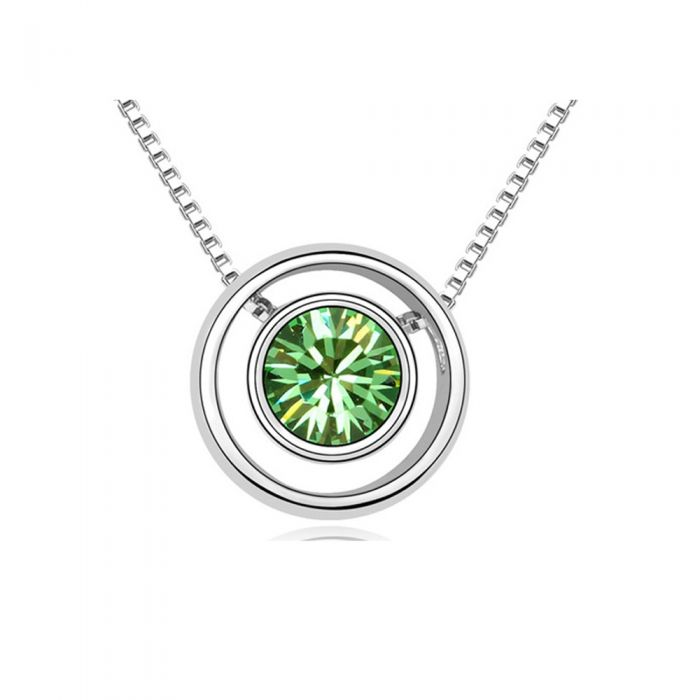 Image for Green Swarovski crystals circle necklace