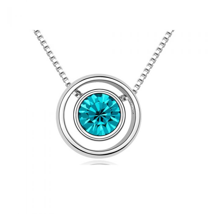 Image for Swarovski - Blue Crystal Swarovski Element and Circle Necklace