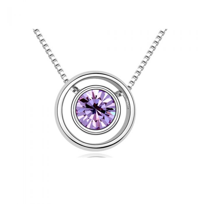 Image for Purple Crystal Swarovski Element and Circle Pendant
