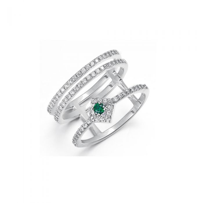 Image for White and green Swarovski crystals ring