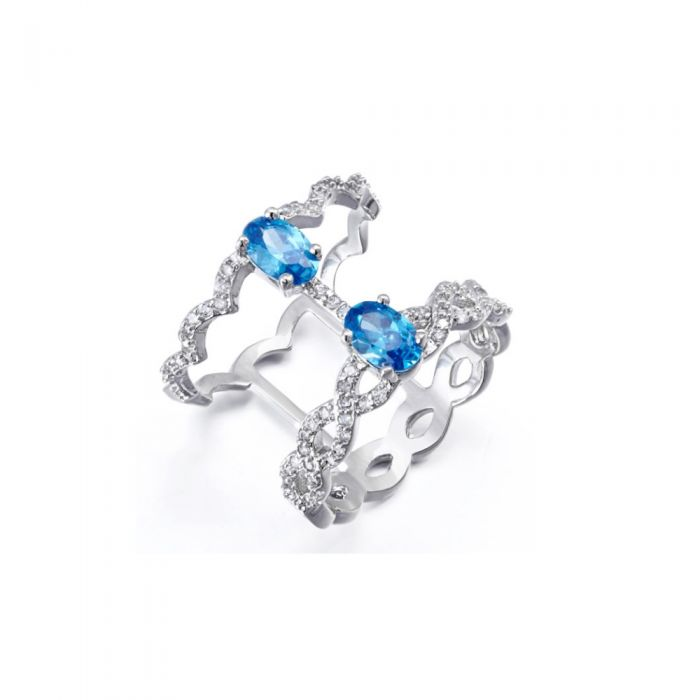 Image for White and blue Swarovski crystals ring