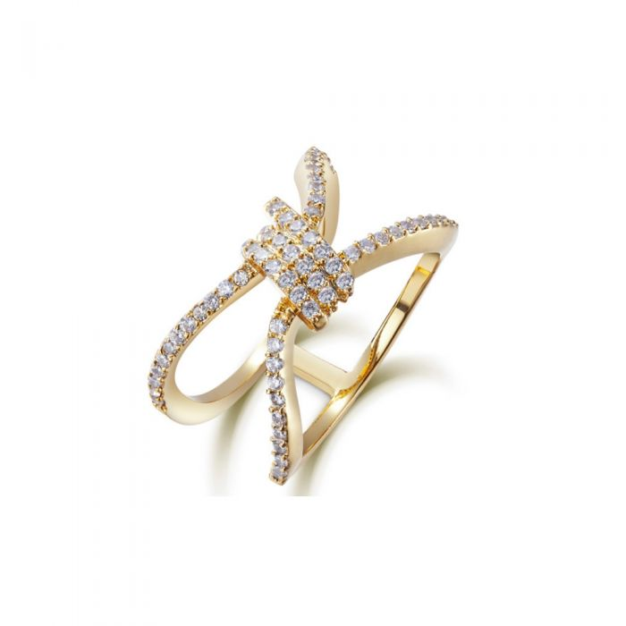 Image for White Swarovski crystals and rhodium-plated ring