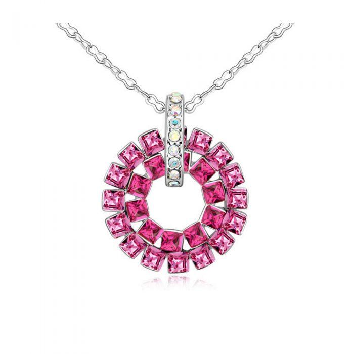 Image for Pink Swarovski crystals circle pendant