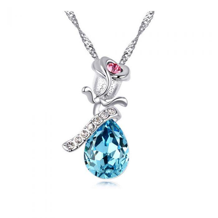 Image for Multi-coloured Swarovski crystals rose necklace