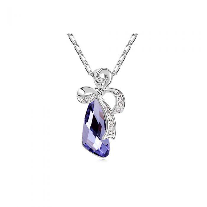 Image for Purple Swarovski crystals knot pendant