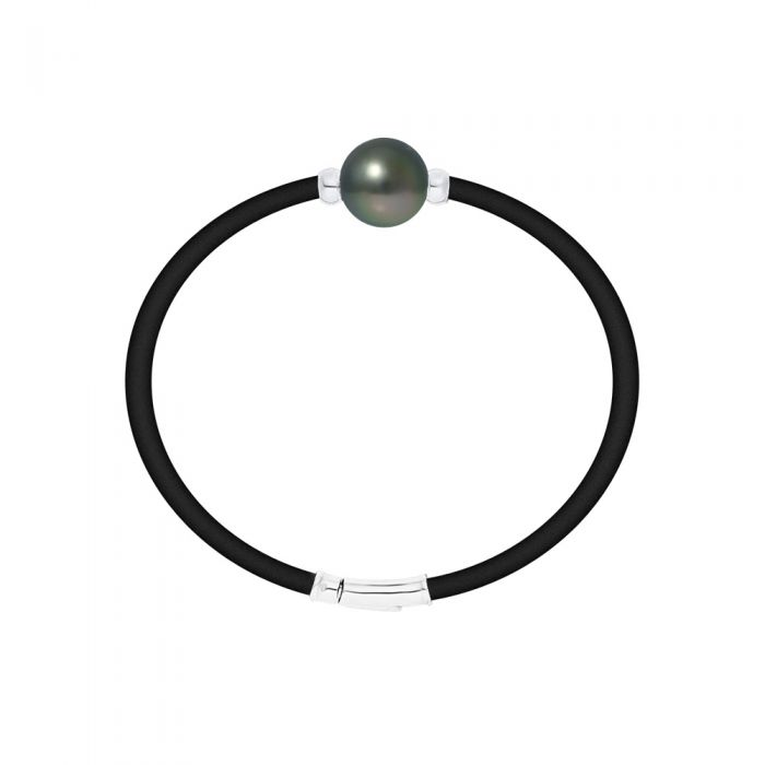 Image for Tahitian pearl neoprene and sterling silver bracelet