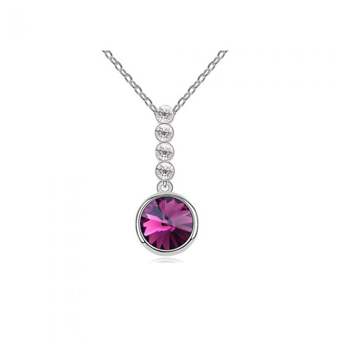 Image for Purple Swarovski Element Crystal Circle Pendant