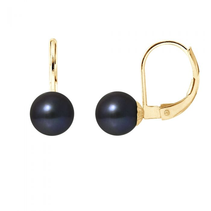 Image for Yellow gold black freshwater pearl earrings