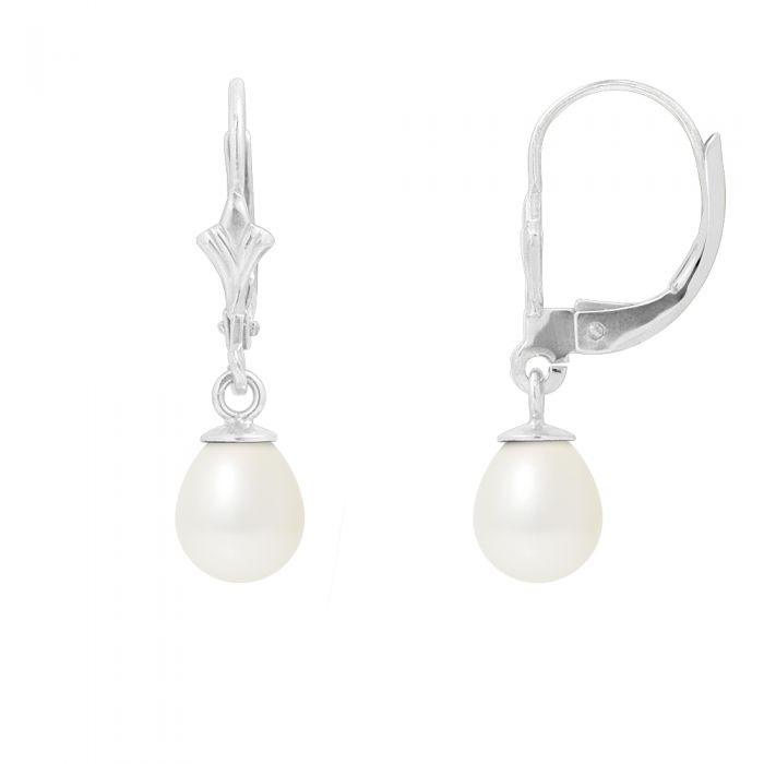 Image for White freshwater pearl drop earrings