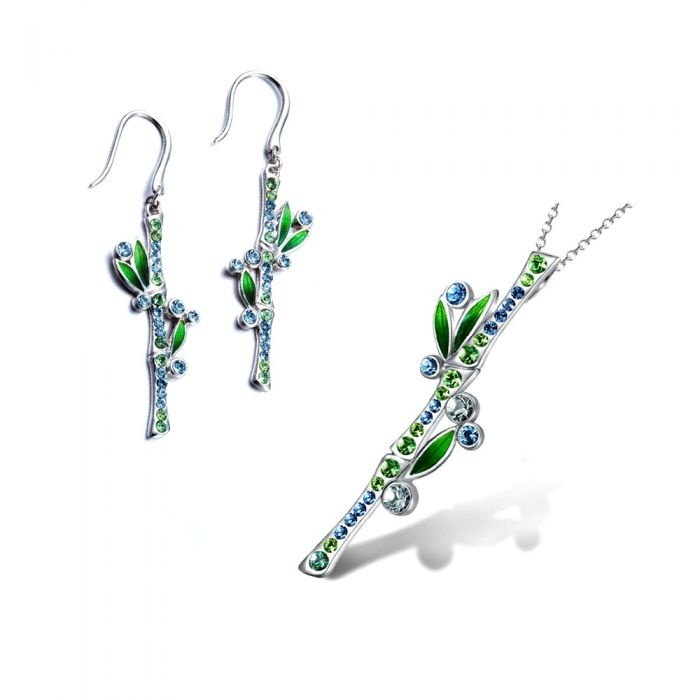 Image for Bamboo Pendant and Earrings Set with Blue Green Swarosvki Elements Crystal