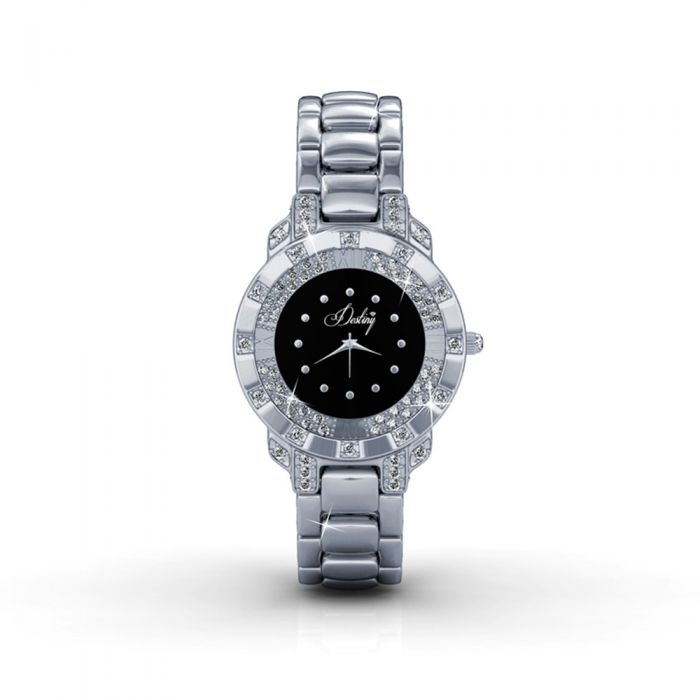 Image for Black Stainless Steel Watch with Swarovski Elements Crystals