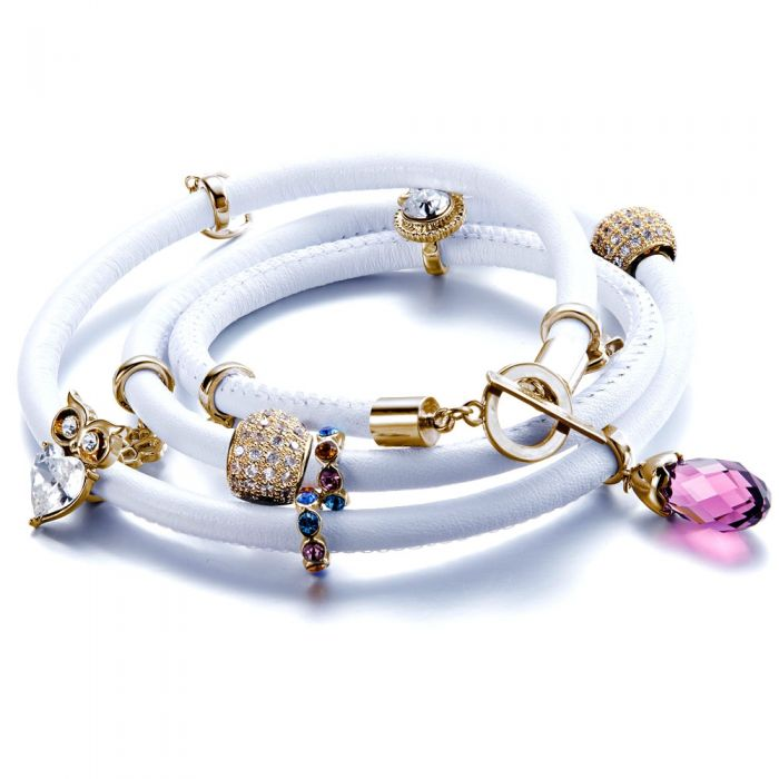 Image for Swarovski crystals and white leather bracelet