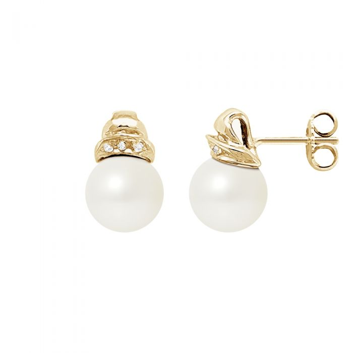 Image for Yellow gold white freshwater pearl and diamond earrings