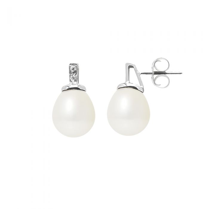 Image for White gold white freshwater pearl and diamond earrings