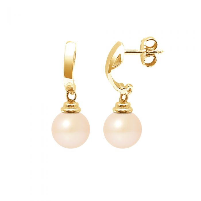 Image for Yellow gold pink freshwater pearl drop earrings