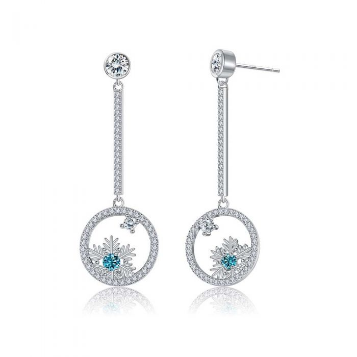 Image for White and blue Swarovski crystals snowflake drop earrings