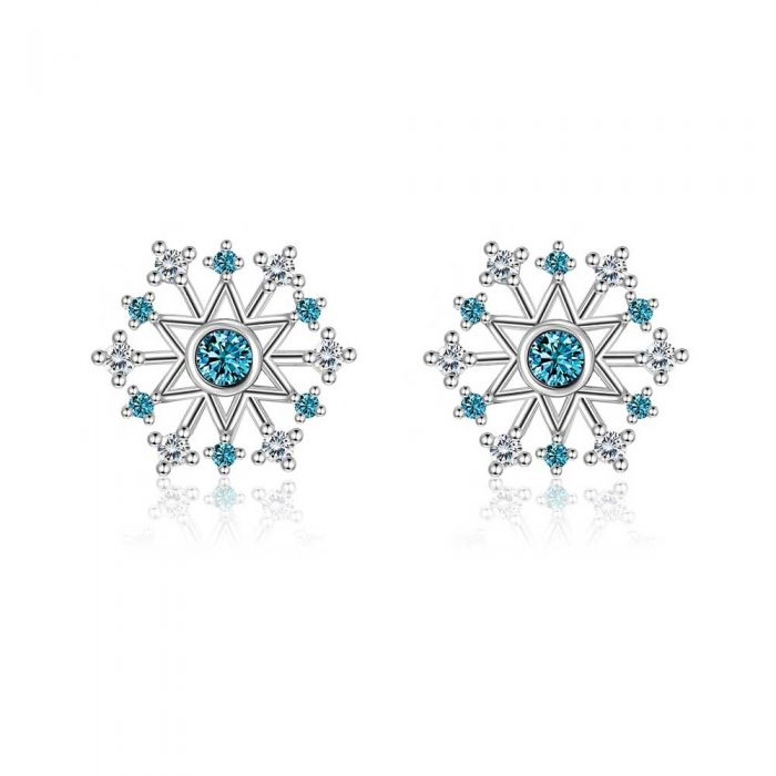 Image for White and blue Swarovski crystals snowflake earrings