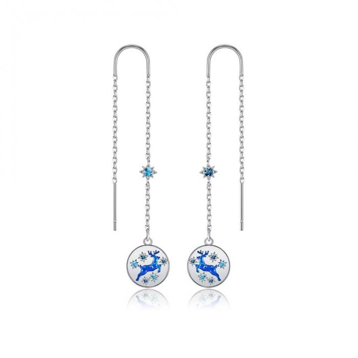 Image for Swarovski - Blue Swarovski Crystal Christmas Reindeer Dangling Earrings