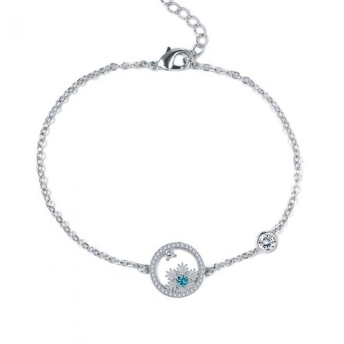 Image for White and blue Swarovski crystals snowflake bracelet