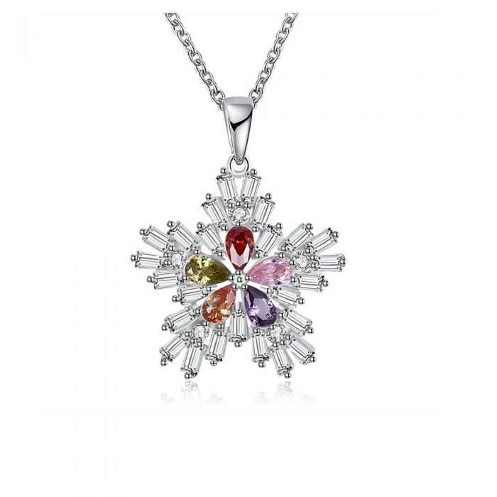 Image for Women's Snowflake Pendant Necklace with Multicolor Swarovski Crystal