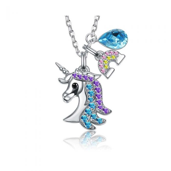 Image for Unicorn Woman Necklace with Blue Swarovski Crystal