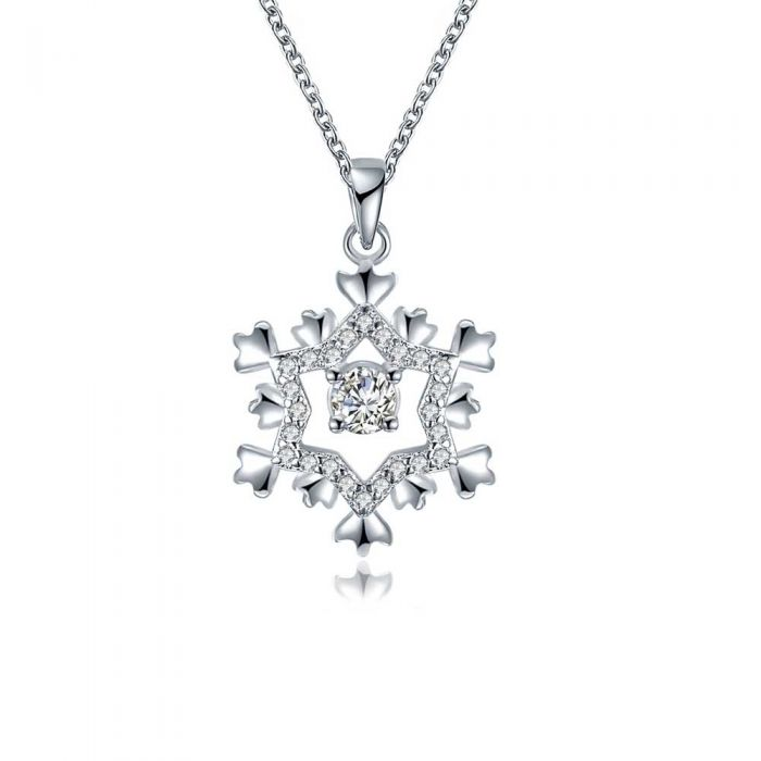 Image for Women's Snowflake Pendant Necklace with white Swarovski Crystal