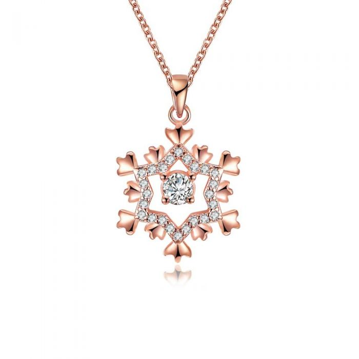 Image for White Swarovski crystals snowflake pendant necklace