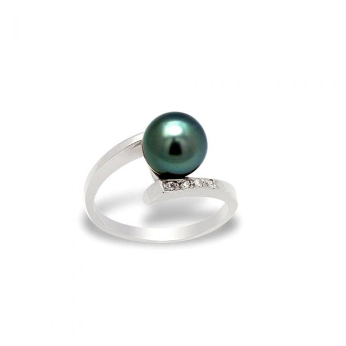 Image for Black tahitian pearl and diamond ring