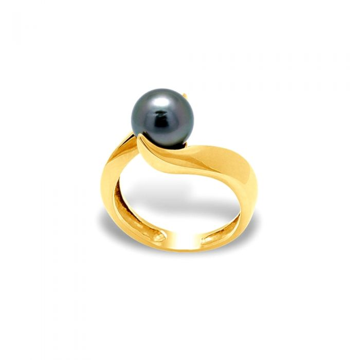 Image for Yellow gold and black tahitian pearl ring