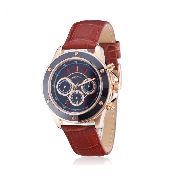 Image for Red Swarovski Crystal Elements Watch with Brown Leather Bracelet