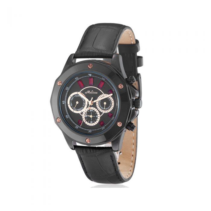 Image for Red Swarovski Crystal Elements Watch with Black Leather Bracelet