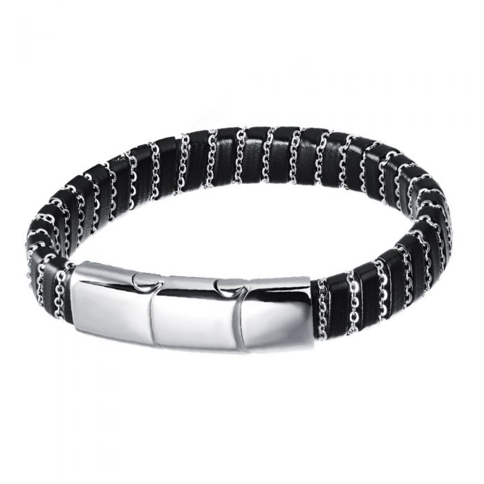 Image for Black leather and stainless steel bracelet
