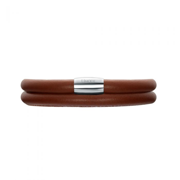 Image for Light Brown Leather Charm's Double Row Bracelet and Stainless Steel