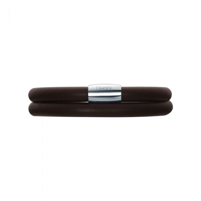 Image for Brown Leather Charm's Double Row Bracelet and Stainless Steel