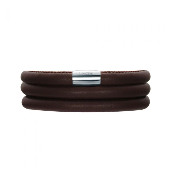 Image for Brown Leather Charm's Triple Row Bracelet and Stainless Steel