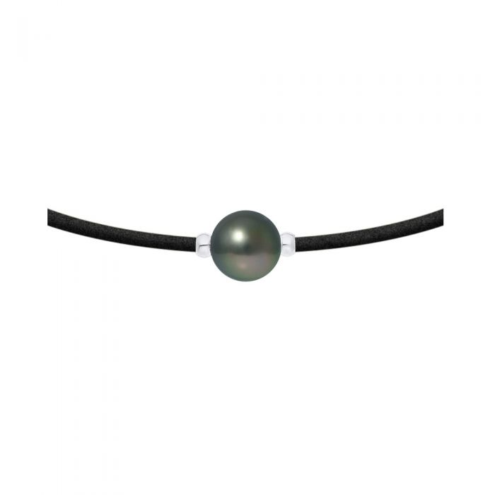 Image for Sterling silver and tahitian pearl necklace