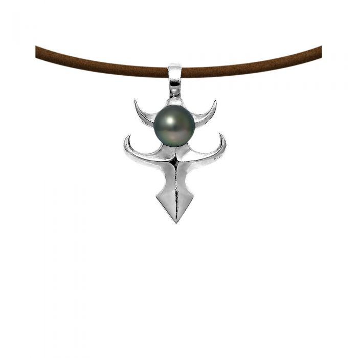 Image for Black tahitian pearl and black leather pendant