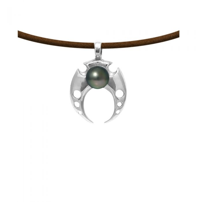 Image for Black tahitian pearl and brown leather pendant
