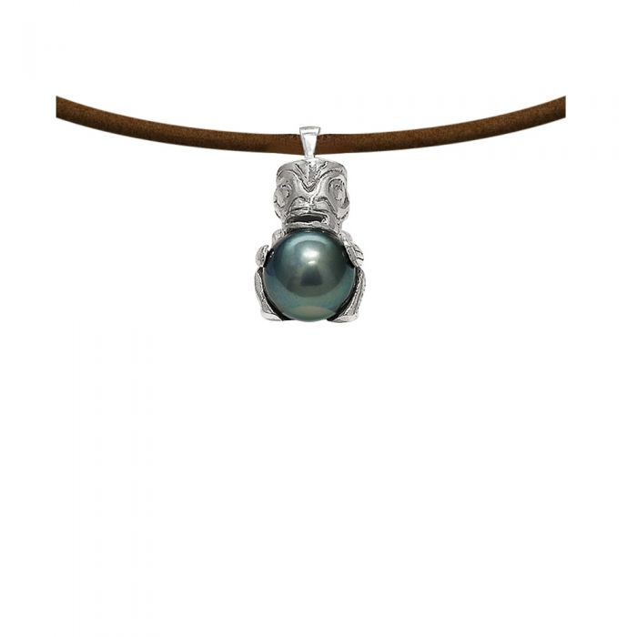 Image for Black tahitian pearl and sterling silver pendant