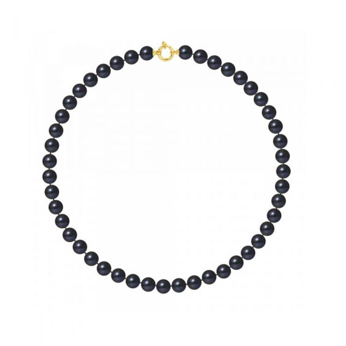 Image for Yellow gold black freshwater pearls necklace