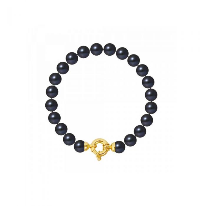 Image for Yellow gold 9mm black freshwater pearls necklace