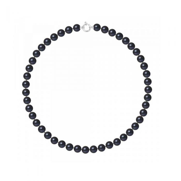 Image for White gold 10mm black freshwater pearls necklace
