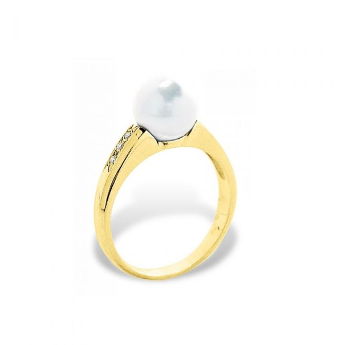 Image for Yellow gold and white freshwater pearl diamond ring