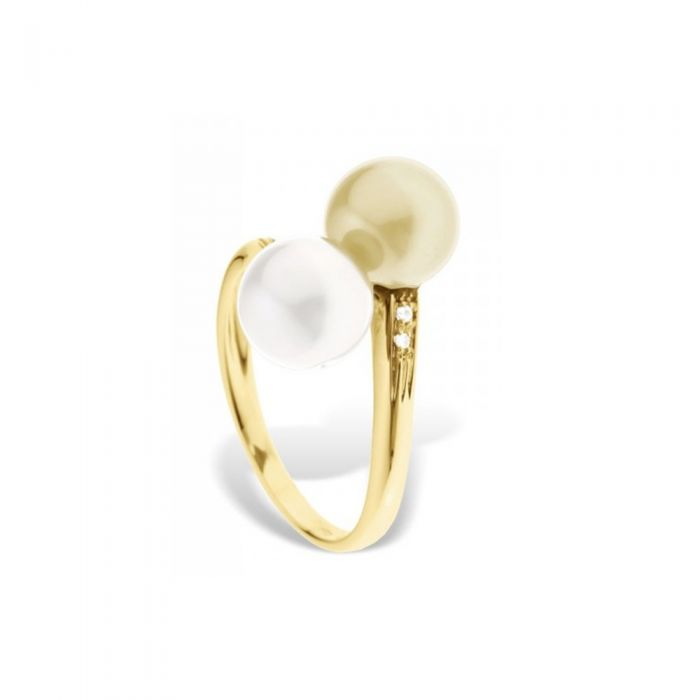 Image for White and gold freshwater pearl and diamond ring