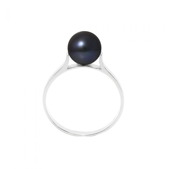 Image for 7-8 mm Black Freshwater Pearl Ring and 925 Silver