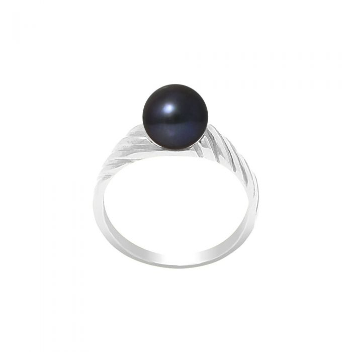 Image for 7-8 mm Black Freshwater Pearl Ring and 925/1000 Silver