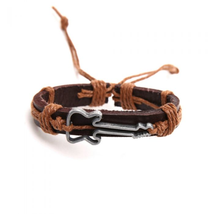 Image for Guitar brown leather  beige cordon and stainless steel bracelet