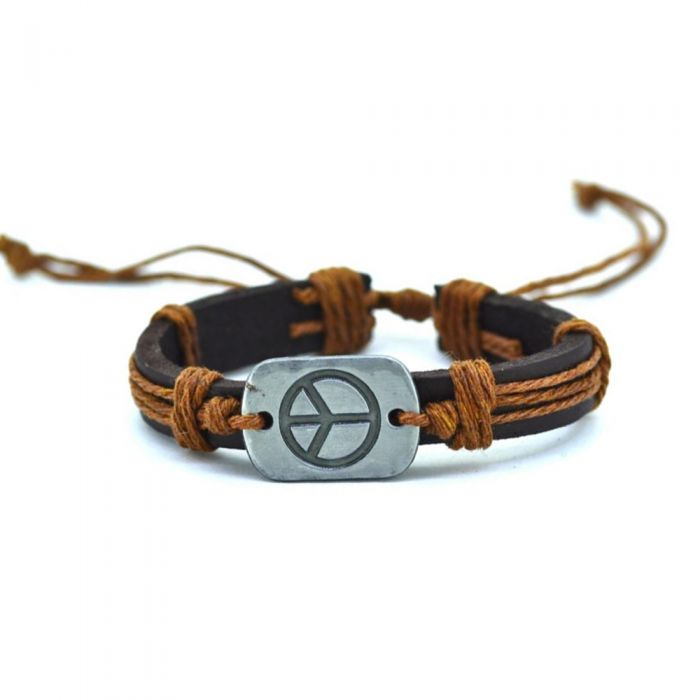 Image for Brown Leather, Beige Cordon and Stainless Peace and Love Man Bracelet